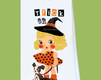 Halloween  Witch, Trick or Treat, Flour Sack, Tea Towel, all cotton, lint free, great gift, holiday gift, hostess, Original ChiTownBoutique