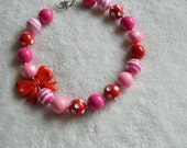 Girl's Red and Pink Valentine's Day Gum Ball Necklace
