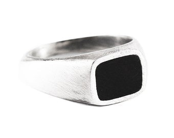 Silver Signet Ring Mens Personalized Rings Jewelry