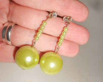 Green Go-Go Girl Disco Ball Earrings Mod Seafoam Green Dangles With Rhinestone Posts -Great  Mad Men Era Earrings With Personality Plus