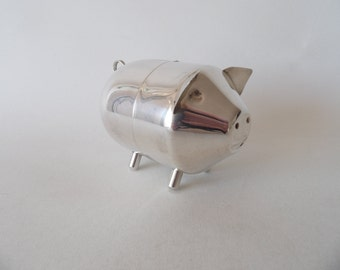 Vintage Silverplate Silver Plated Pig Piggy Bank Money Bank Tirelire Machine Age