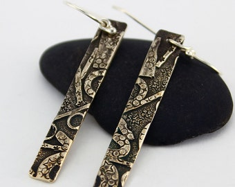 Handcrafted Fused Sterling Silver Long Narrow Dangle/Drop Earrings Organic Collage Design Contemporary Artisan Jewelry Design 9853568033016