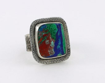 Size 10 Ring Handcrafted Sterling Silver Azurite Malachite Cuprite Red Blue Green Natural Stone Contemporary Artisan Jewelry 010660768216
