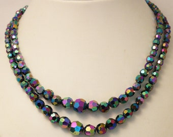 Vintage carnival glass necklace. 2 row necklace