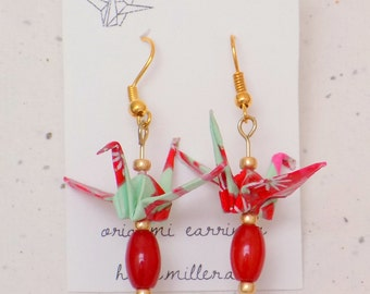 Origami Crane Earrings in Turquoise and Red