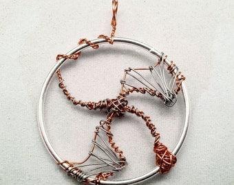 Silver and copper dragon wire wrapped pendant