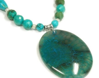 Genuine Turquoise Necklace - Vintage American Turquoise - Long - December Birthstone - Real Turquoise Jewelry - Dragon Vein Pendant - Boho