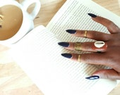 Cowrie and beach rock ring- adjustable statement ring- The Jaiye