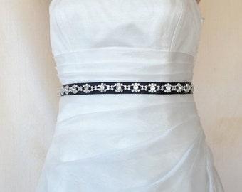 Elegant Eyes Rhinestone Beaded Wedding Dress Sash Belt On a Black Ribbon