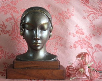 Antique Art Deco Flapper Bust with Bronze Finish