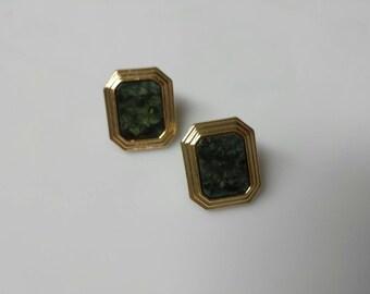 Avon  Park Avenue Pierced earrings Mint Condition Green 1985