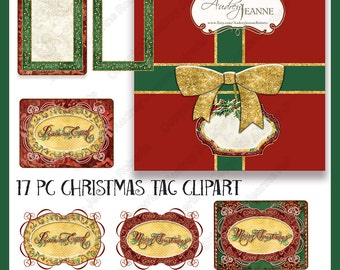 Digital Christmas Clip Art Watercolor Holly Damask Printable clipart hanging gift tag Atc background E16-04A  ornament swirl red green gold