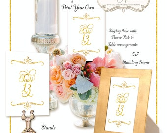 Wedding Table Numbers Digital Print Your Own - white & gold glitter look script calligraphy elegant bridal shower receptions E15-24A