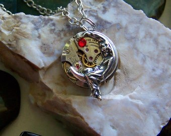 Moon Maiden Ruby Watch Works Pendant