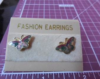 Vintage Colorful Enamel Butterfly Earrings On Card - New Coupon Code BUY3GETONEFREE