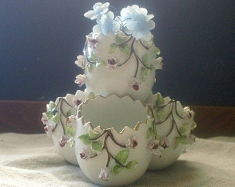 Vintage EGG Tiered Vase - Porcelain Roses, Ivy - AS is