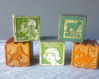 Vintage WOODEN Toy Blocks - 6 Total