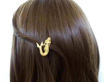 Gold Bridal Hair Clip Wedding Barrette Bride Bridesmaid Ariel Mermaid Ocean Sea Nautical Beach Wedding Accessories Womens Gift For Her