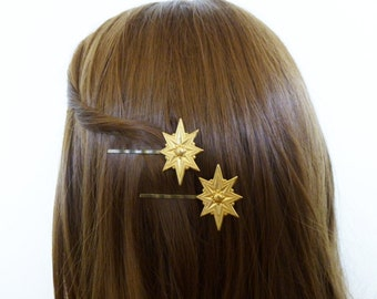 Gold Art Deco Star Hair Pins Christmas Clips Holiday Bobby Slides Grips Bridal Bridesmaid Accessories Great Gatsby Weddings Vintage Style
