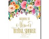 Bridal Shower Sign, Bridal Shower Announcement, Wedding Shower Sign, Floral Bridal Shower 2428