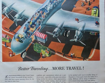 Vintage Magazine Ad 1945-Paper-Ephemera-Ads-Airplane