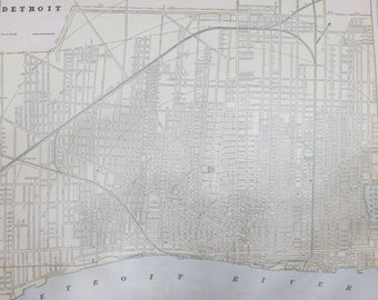 1891 Original Color Atlas Map-Art-122 years Old-City Street View-Detroit