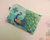 Padded Zip Pouch purse Gadget Coin Case - Peacock print