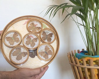 Vintage Butterfly Bamboo Serving Tray with Six Butterfly Coasters