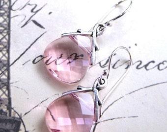 ON SALE ON Sale - Swarovski Crystal Briolette Earrings in Light Rose Pink - Blush Pink Earrings - Sterling Silver Earwires