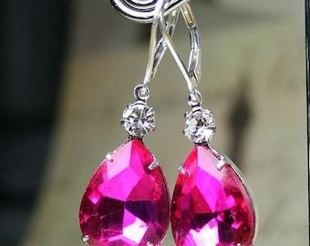 ON SALE Hot Pink Vintage Glass Jewel Earrings - Bright Pink Teardrop Earrings with Rhinestone Accent - Sterling Silver Leverbacks