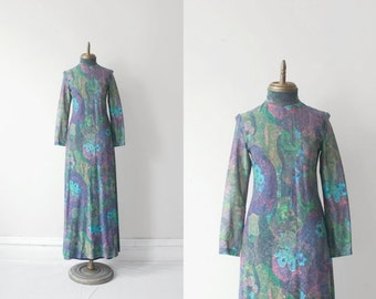 shimmer VINTAGE psychedelic abstract print MISS ELLIETTE lurex maxi dress sz S