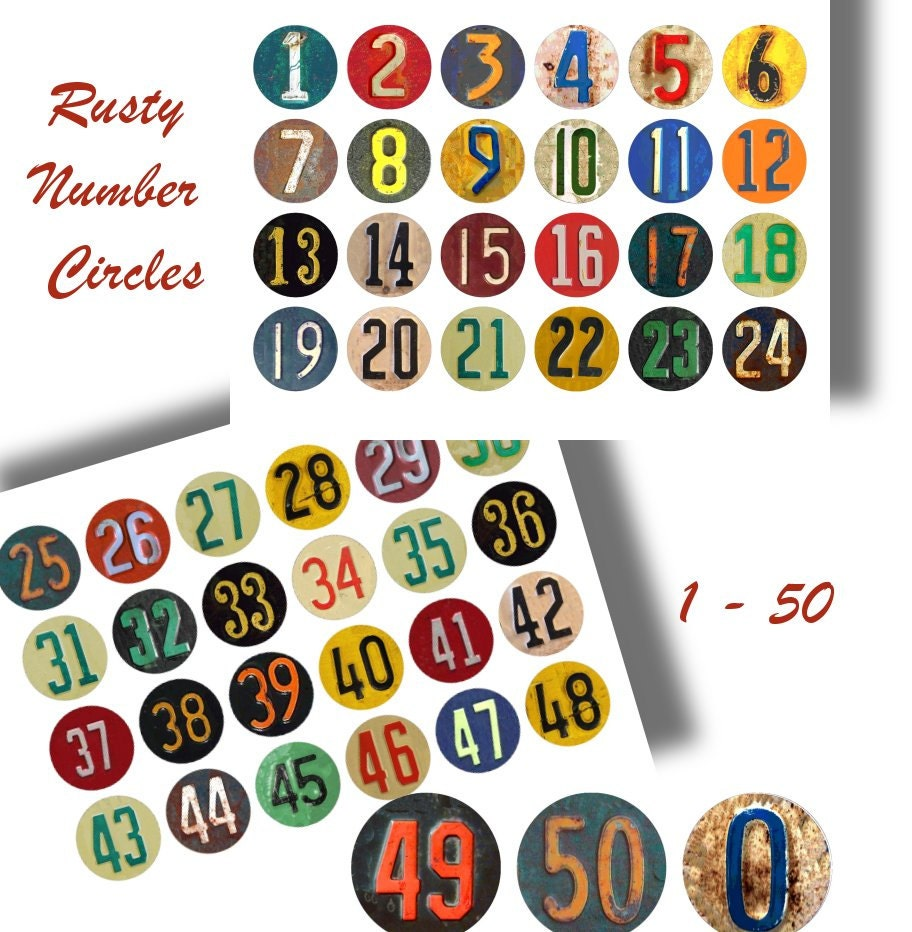 digital rusty numbers craft circles vintage license plate numbers
