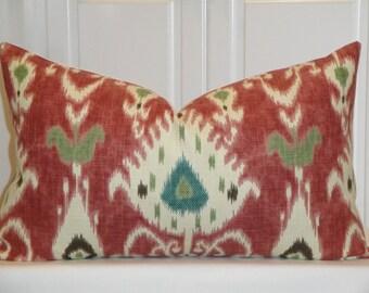 Decorative Pillow Cover - 15 x 25 - Kravet - IKAT - Throw Pillow - Accent Pillow - Quartz/Red - Brown - Teal - Ivory