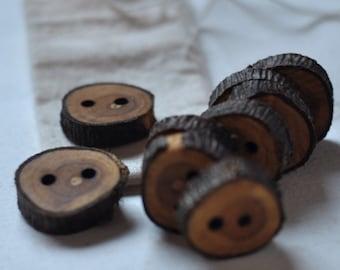 set of 9 buckthorn wood buttons  • wooden button  •  tree branch buttons