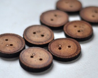 wood buttons • set of 8 linden tree branch buttons • handcrafted wooden button