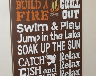 ON SALE TODAY Lake Rules Sign 12 x 24 Pick Your Own Colors Lake House Sign
