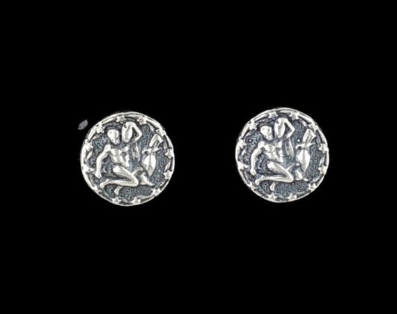 Sterling Silver Zodiac Earrings Aquarius