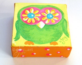 Miniature Owl Art, The Daily Hoot 9.17.16, Mini Painting, 4x4 acrylic canvas