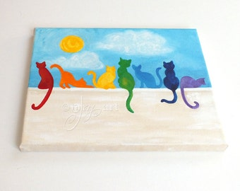 """Rainbow Cats on a Wall, 8""""x10"""" acrylic canvas painting, colorful whimsical cat decor."""