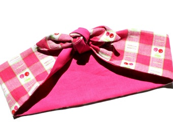 Vintage Inspired Head Scarf, Pink, Cherry, Gingham, Retro, 1950s