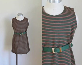 vintage 1960s little girl's dress - PINE GARLAND striped knit beleted dress / 7-8yr