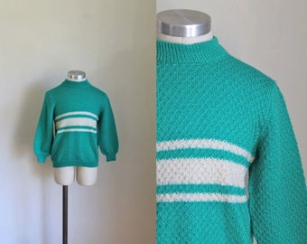 vintage 1960s little girl's sweater - PEPPERMINT CANDY mint striped wool knit top / 10yr