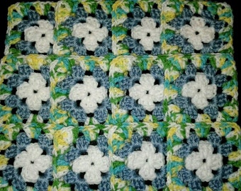 """12 Crochet  Granny Square Blocks for afghan, scarf, crochet project 4"""" X 4"""""""