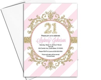 Printable 21st birthday invitation in pink and gold | adult birthday party invitation girl | digital or printed - WLP00364