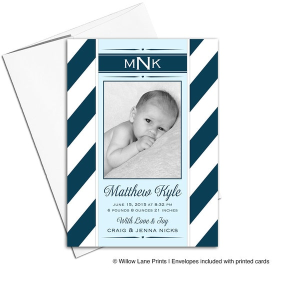 Photo birth announcement cards | boy baby announcement photo card | navy nautical stripes | printable or printed - WLP00173
