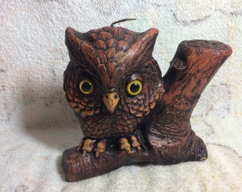Retro Carved Owl Candle Canuck Canada 70s Woodland