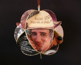 Rod Stewart Album Cover Ornament Made Of Repurposed Record Jackets