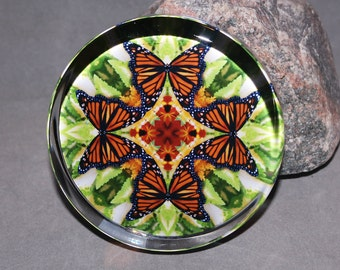 Monarch Butterfly Paperweight Boho Chic Mandala New Age Sacred Geometry Hippie Kaleidoscope Mod Unique Boss Gift Teacher Gift Free Spirit