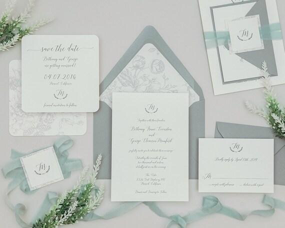 Modern Grey Calligraphy Wedding Invitationsfrench Floral