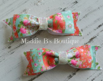 Vintage Tuxedo Bow Tie Hair bow-Vintage flower bow-glitter Bow Tie bow-made by Maddie B's Boutique on Etsy